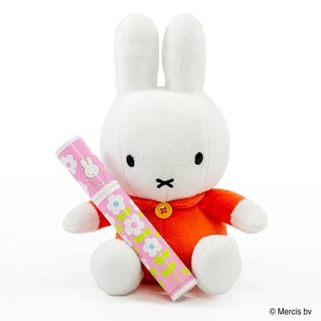 ミッフィー ぬいぐるみ(オレンジ)+ミッフィー 丸筒電報ピンク