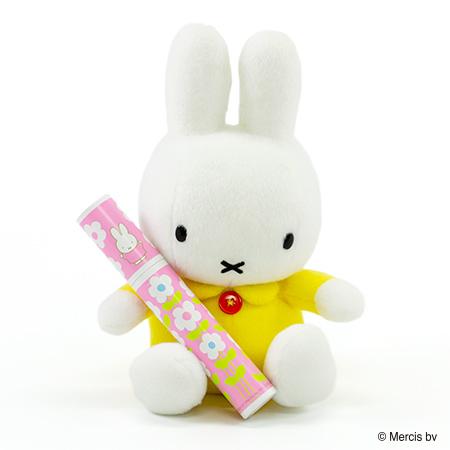 ミッフィー ぬいぐるみ(イエロー)+ミッフィー 丸筒電報ピンク