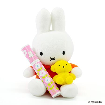 くまちゃん抱きミッフィー ぬいぐるみ+ミッフィー 丸筒電報ピンク