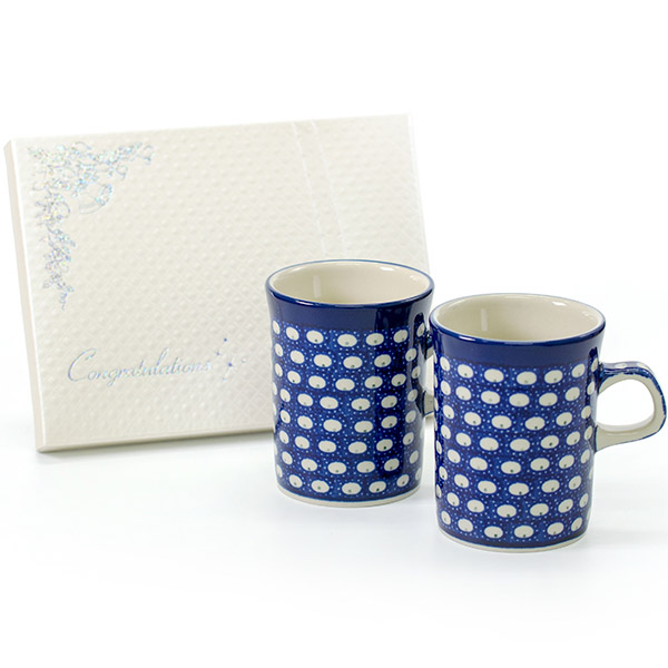 〈セラミカ〉ドヌーブ マグカップ+キラキラHAPPYBOX電報プレシャスホワイト