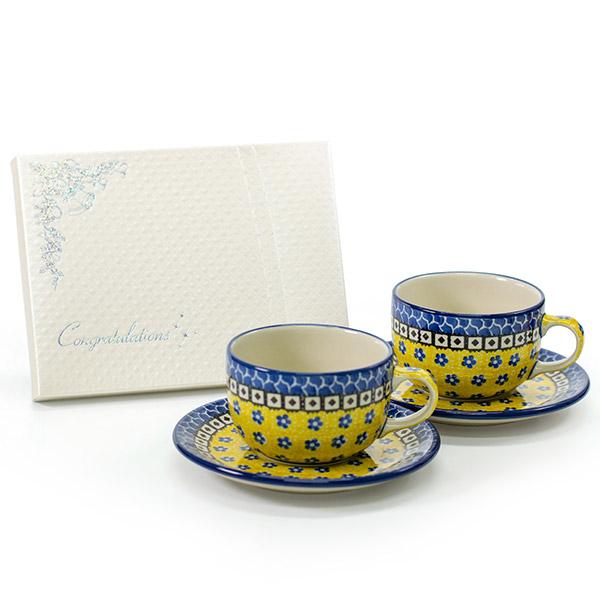 〈セラミカ〉サフラン カップ&ソーサー+キラキラHAPPYBOX電報プレシャスホワイト