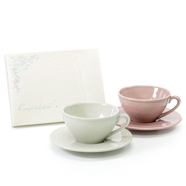 〈クレア〉ペアカップ&ソーサー+キラキラHAPPYBOX電報プレシャスホワイト